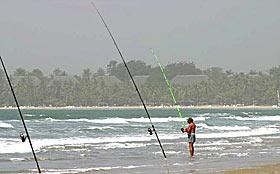 Surf casting au Cap Skirring Sénégal